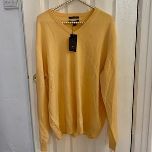 Club Room Yellow Cashmere Vneck NWT Sweater L